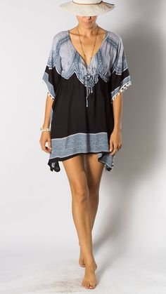 b21b707229 Pom Tunic Dress Blue Grey Black Mandala Womens tunic by BaliPrema Tunic  Dresses, Blue Dresses