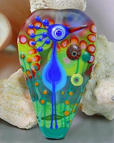 Michou P. Anderson Lampwork Beads  Tropical Bird  by michoudesign