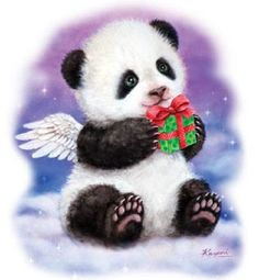 TSHIRT  Panda Bear Gift Winter Christmas by AlwaysInStitchesbyLi, $12.00
