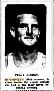 1933 Percy Finney, Maryborough's blind oarsman.