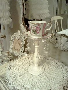 For the love of Romantic living. A love affair of Shabby Chic trash to treasure projects. I adore old chippy, crusty vintage furniture Shabby Chic Interiors, Shabby Chic Decor, Candle Stand, Candle Holders, Floating Tea Cup, Teacup Crafts, Mad Hatter Tea, Romantic Homes, Vintage Tea