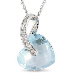 diamond heart necklace blue