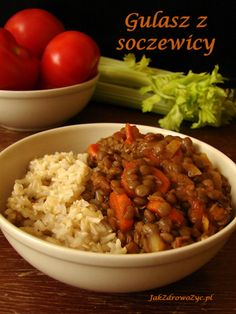 Gulasz z soczewicy Simply Recipes, Food And Drink, Rice, Beef, Healthy Recipes, Cooking, Language, Foods, Per Diem