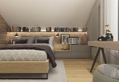 37 Attic Bedroom Storage, Attic Bedroom Designs, Cosy Bedroom, Attic Bedrooms, Bedroom Loft, Blue Bedroom, Master Bedroom, Bedroom Decor, Loft Conversion Bedroom