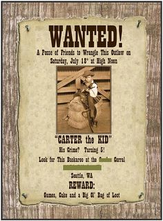 Cute Western Theme Party Invite