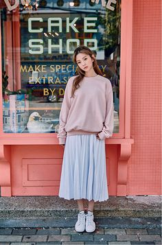 Fine Pleat Midi Skirt - I know you wanna kiss me. Thank you for visiting CHUU.