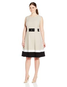 Calvin Klein Women's Plus-Size Fit-And-Flare Color-Block with Belted Waist -- This is an Amazon Affiliate link. Click on the image for additional details.