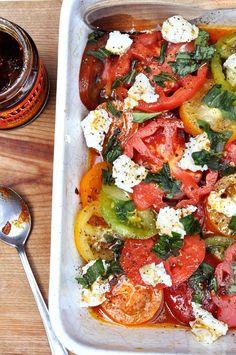 Goat's cheese & tomato salad with Gran Luchito Smoked Chilli Honey