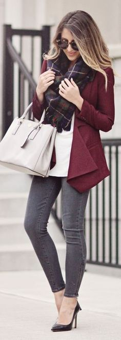 Daily New Fashion : Fall Style Inspiration - Burgundy Sophisticated Fall Jacket