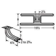 Heavy Duty BBQ Parts 21002-78202 Cast Iron Burner with L-Shaped Twin Venturi for Broil King.92/Broil-Mate/Sterling Brand Gas Grills