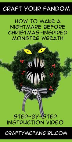This Monster Wreath DIY craft tutorial is inspired by The Nightmare Before  Christmas decoration of the Haunted Mansion at Disneyland. 6aca64386