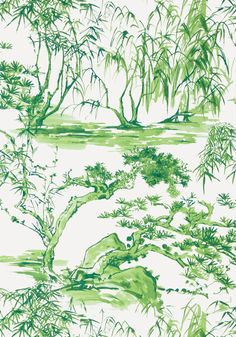 KYOTO, Emerald Green, AT9828, Collection Nara from Anna French View Wallpaper, Bathroom Wallpaper, Anna French, Japanese Watercolor, Watercolor Wallpaper, Chinoiserie Chic, Japanese Architecture, Japanese Design, Watercolor Techniques