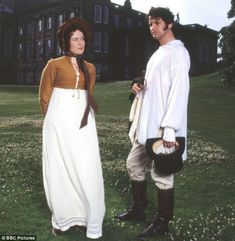 The most famous scene never in the book. Colin Firth, as Mr. Darcy, goes for a dip. What a shocking state of undress!