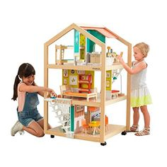 KidKraft So Stylish Mansion Dollhouse with EZ Kraft Assembly™ with 42 accessories included Image 1 of 21 Girls Dollhouse, Wooden Dollhouse, Dollhouse Ideas, Multiplication For Kids, Shopkins, Other Rooms, Modern Retro, Play Houses, Kids Corner