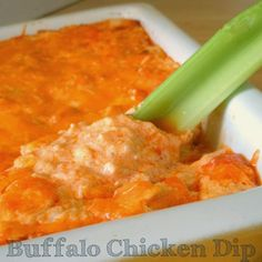 Buffalo Chicken Dip is one of our favorites and perfect for Super Bowl snacking!  Creamy, spicy, goodness- perfect with chips or keep it low carb with celery sticks! @Allrecipes