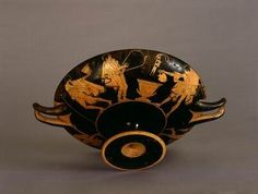 Attic red-figure kylix (wine cup) by the Antiphon Painter   Athens, Greece   490 - 480 BCE   Pottery