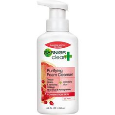 Garnier Clean + Purifying Foam Cleanser for Combination Skin, Oil-Free Cleanser For Combination Skin, Combination Skin Care, Cleanser For Oily Skin, Face Cleanser, Moisturizer, Skin Toner, Mousse, Best Face Products, Beauty Products