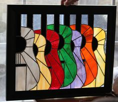 Strummer's Land - 16 x 20 framed Stained Glass Panel of colorful guitars