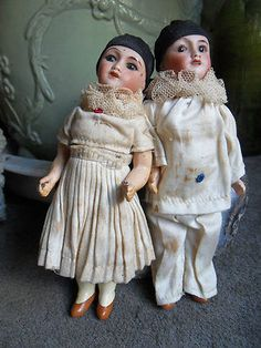"""Colombine An Pierrot"" Antique Unis France Dolls Years 1920 Perfect Condition 