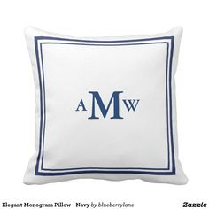 Elegant Monogram Pillow - Navy