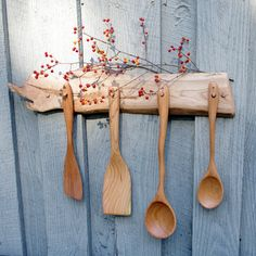 wooden spoons with wooden rack