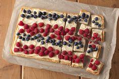 SNACK DELIGHTS Patriotic Berry Bites Recipe - Kraft Recipes.....think I'd use cream cheese spread....
