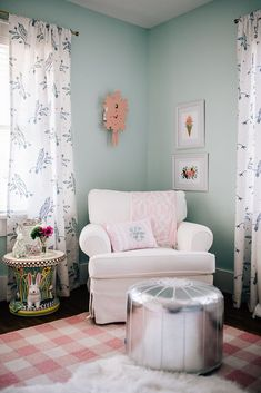 The sweet, floral nursery designed for our new baby girl! Painted Pedestal Tables, Her Wallpaper, Project Nursery, Nursery Ideas, Floral Curtains, Bird Curtains, Blue Crib, Nursery Artwork, Floral Nursery