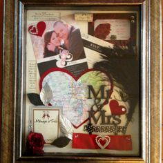 Wedding shadow box. Included: feathers, ribbon and jewels from bouquet, wedding invite, save the date, a map of the city where the wedding took place, a cork and label from the wine served, and adornments from the grooms boutonnière.