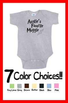 "CUSTOM COLORS Handmade Super Cute Funny Boutique Infant Baby ""Harry Potter Auntie's Favorite Muggle"" Onesie T Shirt Shower Gift Present Idea on Etsy, $13.99"