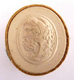 19th century Grand Tour sulphur-cast intaglio of Herakles wearing a lion helmet