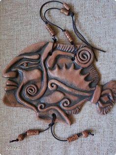 Поделка изделие Лепка Роспись рыба - под керамику  тесто Краска Тесто соленое фото 1