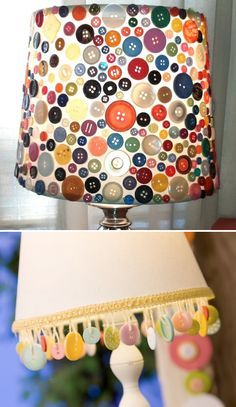 This is a simple lamp shade that has been decorated with buttons. I can do something similar to this. You can decorate with buttons in lots of ways, for example covering everything with buttons (top photo) or dangling them from the bottom.