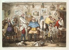 A barber lathering a man's face, other men trying on wigs. Coloured etching by J. Gillray, after H. CC BY by oldstyle Barber Accessories, The Barber Of Seville, 18th Century Fashion, 19th Century, Wellcome Collection, Maltese Dogs, Art Memes, Political Cartoons, Male Face