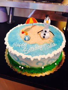 Olaf in Summer Cake. www.enchantingcake.com