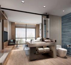 Toilet And Bathroom Design, Washroom Design, Open Bathroom, Bathroom Layout, Hotel Bedroom Decor, Hotel Room Design, Lobby Interior, Ppr, Hotel Interiors