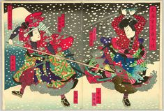 Fighting in the Snow, Kunisada Utagawa