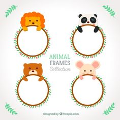 Cute animals rounded frames Free Vector
