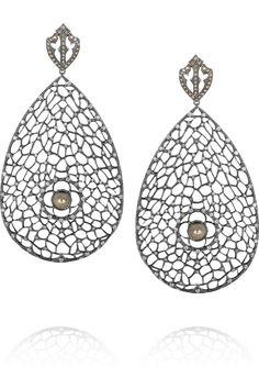Loree Rodkin Spiderweb 18-karat rhodium white gold diamond earrings NET-A-PORTER.COM