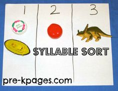 Syllable Identification with Realia for Preschool and Kindergarten via www.pre-kpages.com