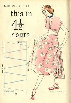 4 1/2 hour vintage skirt pattern