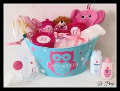 Personalized Baby Girl Boy Gift Basket for Baby Shower Owl Theme