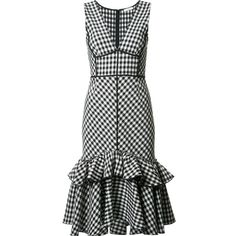 Tome Black & White Gingham Dress ($1,895) ❤ liked on Polyvore featuring dresses, pattern dress, print dresses, black white print dress, black and white gingham dress and gingham dress