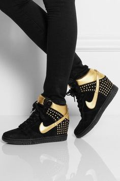 423d18acf5e5 Nike Dunk Sky Hi suede and metallic leather wedge sneakers ♔Life