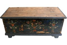 Hand-painted antique blanket chest with dovetailed joints and interior document box.