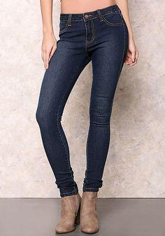 Dark Denim Skinny Jean with Stitching