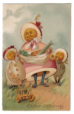Egg People Blowing Horn Playing w Cart Easter Offerings Tuck Sons 1907 RARE | eBay