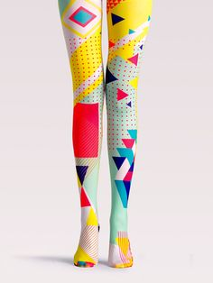 Tights Cintura Alta Estampado Geométrico Multicolor