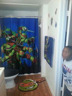 If he has his own bathroom Boys Ninja Turtle Room, Ninja Turtle Bathroom, Ninja Turtles, Boys Room Decor, Boy Room, Bedroom Decor, Sea Bathroom Decor, Bathroom Ideas, Shower Tile Designs