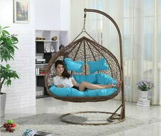 Great for Indoor and outdoor use. Double Hanging Swing Chair Double Swing Chair is also available with Orange Cushions as well. Egg Swing Chair, Hanging Swing Chair, Hanging Beds, Hammock Chair, Swinging Chair, Hanging Chair With Stand, Chair Cushions, Balcony Swing, Bedroom Swing