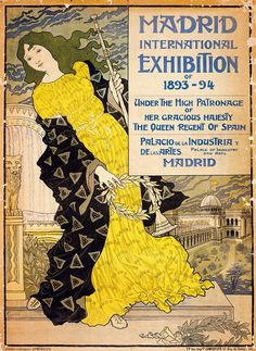 1893-94 Eugene Grasset Art Nouveau Illustration-Madrid International Exhibition